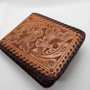 Vintage Tooled Leather Wallet  👀 Host Pick!